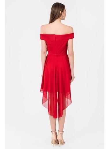 İroni Kayık Yaka Tül Midi Abiye Elbise Kırmızı